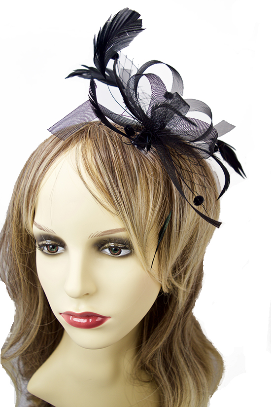 Feather and Black Bow Fascinator
