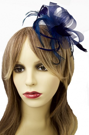 Navy Blue Mesh Ribbon Bow & Feather Fascinator