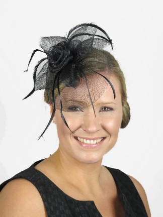Black Crinoline Flower and Feather Clip Fascinator