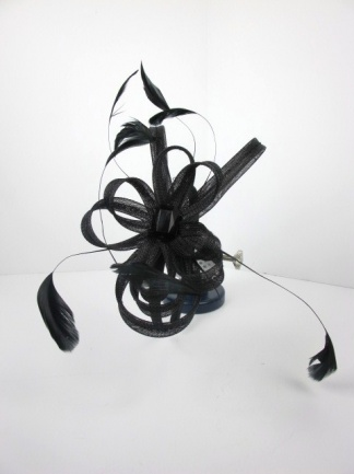Black Looped Ribbon Hairband Fascinator with Feathers