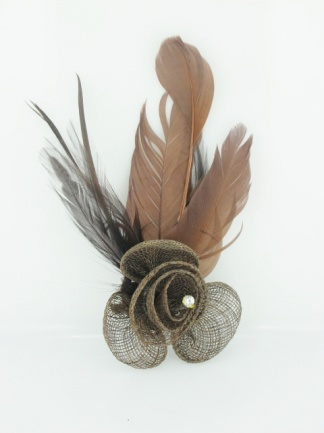 Brown Sinamay and Feather Clip Fascinator