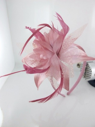 Dusky Pink Flower and Feather Hairband Fascinator
