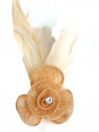 Nude/Peach Sinamay Flower Fascinator with Clip