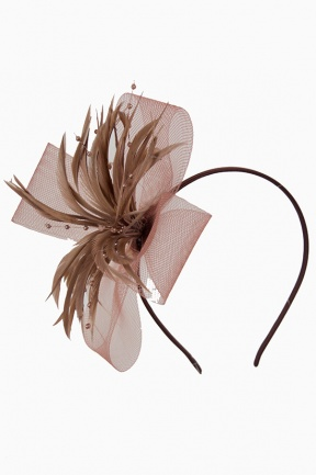 Mocha Brown Mesh Bow & Feather Aliceband Fascinator