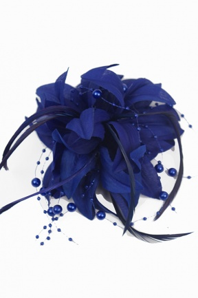Navy/Royal Blue Flower Bead & Feather Clip Fascinator
