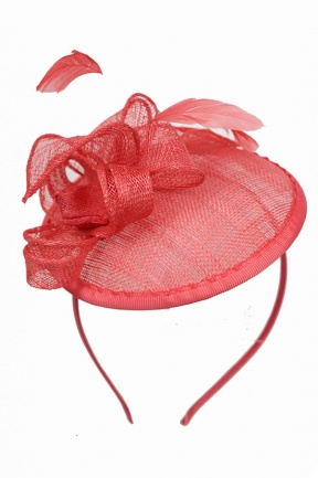 Coral Small Saucer Hat Fascinator with Aliceband