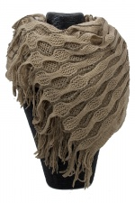 Beige Netted Wrap Around Knitted Scarf with Fringe