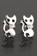 925 Sterling Silver Cat with Bow Tie Stud Earrings