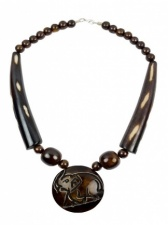 Ethnic Horn Chunky Brown Necklace with Carved Elephant