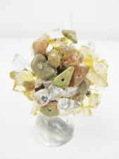 Beige & Green Tone Semi Precious Stone Elasticated Ring
