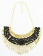 Gold & Black Matchstick Egyptian Collar Ethnic Necklace