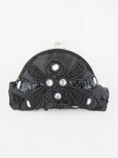 Black and Mirror Stone Small Beaded Clutch Bag