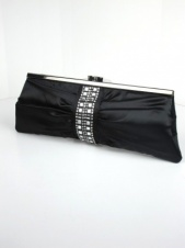 Black Quality Satin Clutch Bag with Crystal Detail