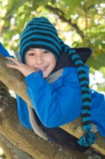Turquoise Blue & Black Striped Kids Wool Hat