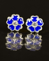Kids Sterling Silver Blue Daisy Stud Earrings with Gift Box