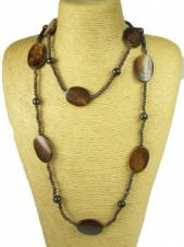 Brown Bone Bead Long Ethnic Necklace