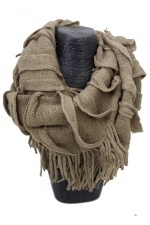 Brown Acrylic Fringed Knitted Snood