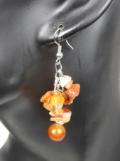 Brown Semi Precious Dangly Earrings