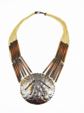 Distressed Copper & Beige String Ethnic Style Necklace