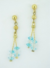 Gold and Blue Crystal Delicate Dangly Earrings