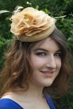 Gold Pill Box Fascinator with  Flower