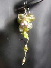 Green Semi Precious & Pearl Cluster Earrings