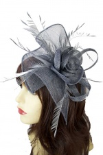 Large Grey Clip and Hairband Fascinator