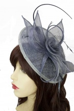 Grey Hat Fascinator with Hairband & Clip