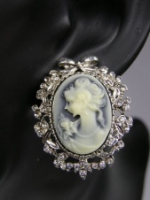Grey and White Cameo with Silver Frame Clip on Earrings