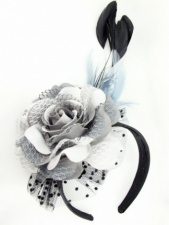Grey Flower and Feather Hairband Fascinator