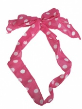 Pink and White Spot Chiffon Pretty Hair Tie Scarf