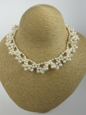 Hand Knotted Freshwater Pearl Floral Bridal Necklace