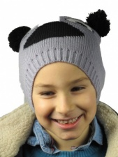 Childrens Grey Knitted Animal Hat with Pom Pom Ears