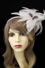 Ivory & Black Feather Flower Hairband Fascinator