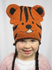 Kids Knitted Tiger Trapper Hat with Tassles