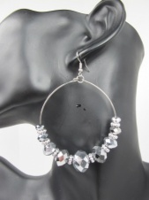 Large Hooped Silver Colour Earrings With Silver Colour Beads