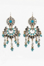 Large Turquoise, Crystal and Gold Fashion Earrings