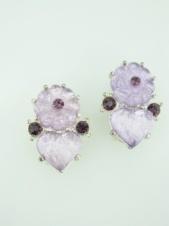 Lilac and Purple Flower and Heart Clip Earrings