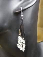 Majique Contemporary Silver and Crystal Earrings