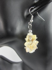 Mother of Pearl Stone Cluster Fashion Earrings