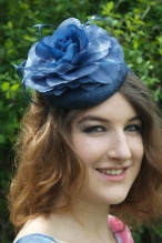 Navy Blue Sinamay Pill Box Hat Fascinator with Flower & Feathers