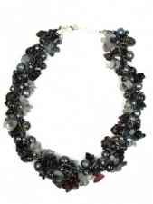 Nannapas Black & Grey Pearl & Semi Precious Necklace