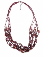 Burgundy Layered Mother of Pearl Fashion Necklace