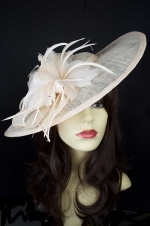 Large Nude Saucer Hat Fascinator with Hairband