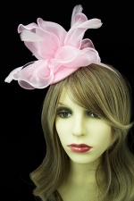 Pink Organza & Feather Hat Fascinator with Hairband