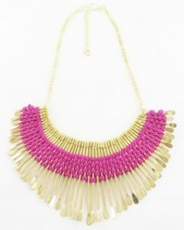 Gold & Pink Egyptian Matchstick Collar Necklace
