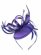 Purple Satin Loop & Feather Hairband Fascinator