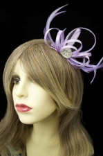 Lilac Purple Satin Loop Comb Fascinator