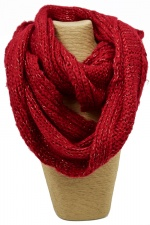 Red Lurex Chunky Knitted Snood