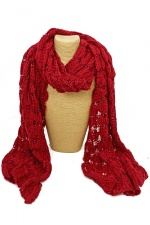 Red Sequin Knitted Wool Ladies Scarf